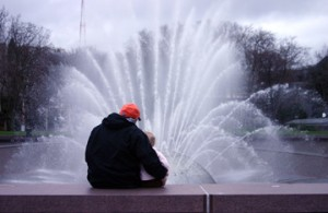 Hubby and Sweetness enjoy the Seattle Center Fountain.